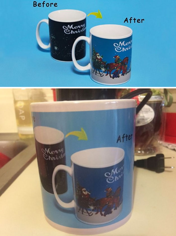 I Bought This Cup For My Wife Expecting It To Change From A Black Cup To A Christmas Scene